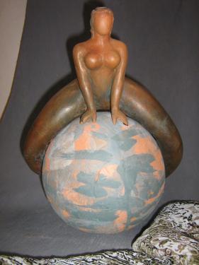 Femme à saute-mouton ,dimensions :33 x27 cm